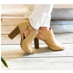 WILD DIVA BEIGE LEATHER CUT OUT PEEP TOE BOOTIES